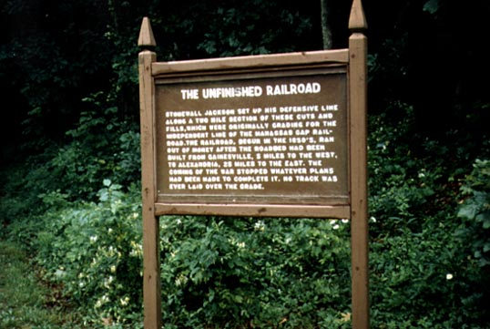 sign at unfinished railroad battle
